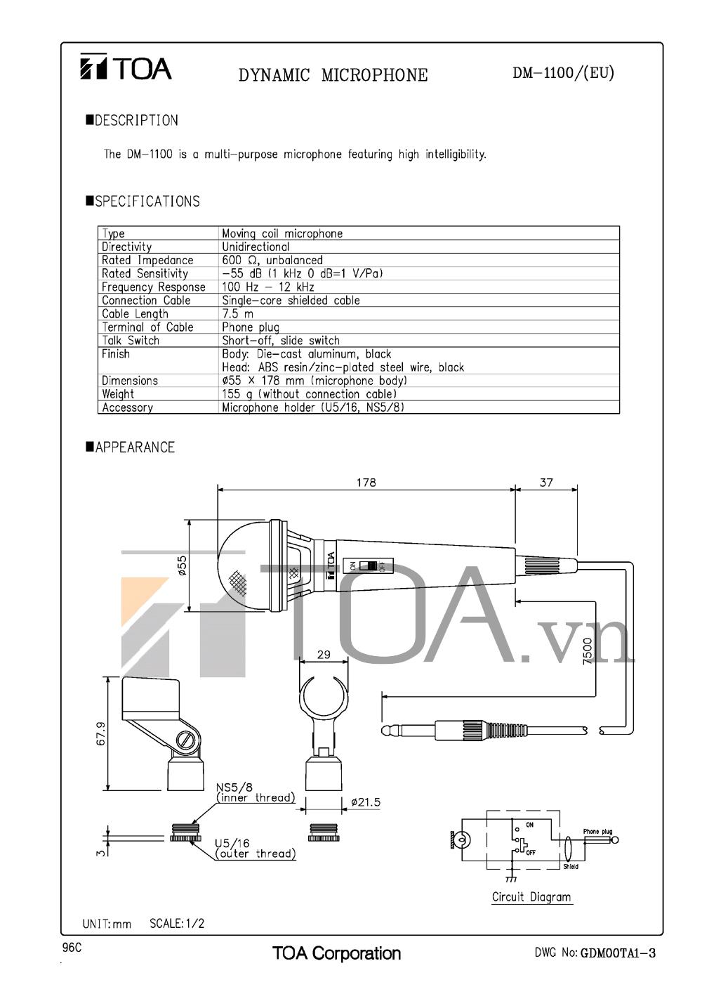 Bản vẽ thiết kế micro TOA DM-1100